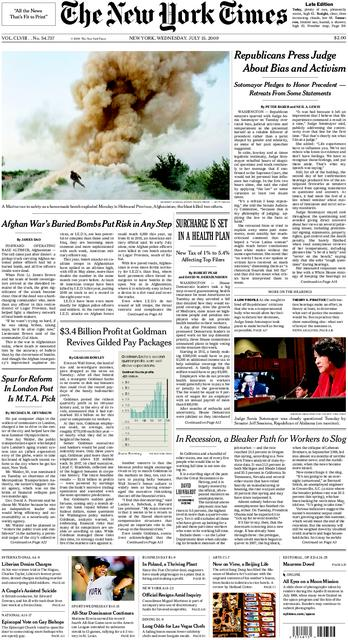 Front Page of the New York Times, July 15, 2009